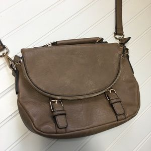 Tan bag that goes across chest